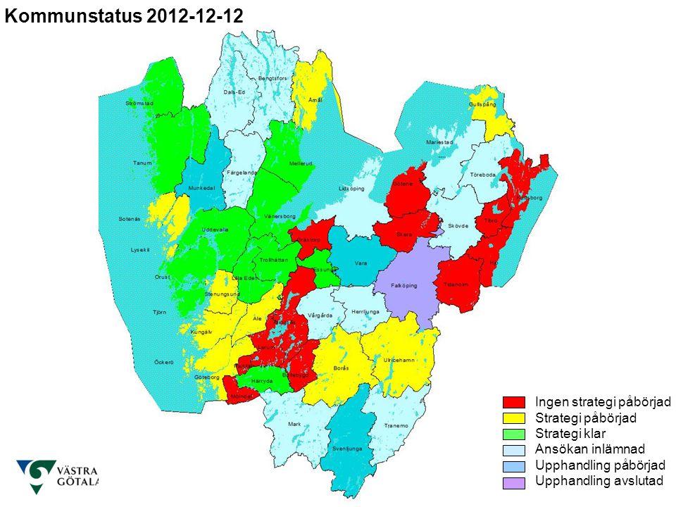Kommunstatus 2012-12-12 Ingen strategi påbörjad Strategi påbörjad