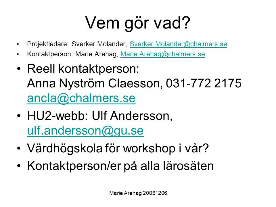 Vem gör vad Projektledare: Sverker Molander, Sverker.Molander@chalmers.se. Kontaktperson: Marie Arehag, Marie.Arehag@chalmers.se.