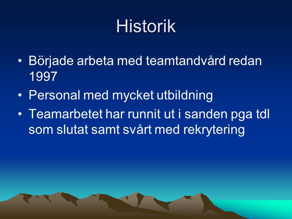 Historik Började arbeta med teamtandvård redan 1997