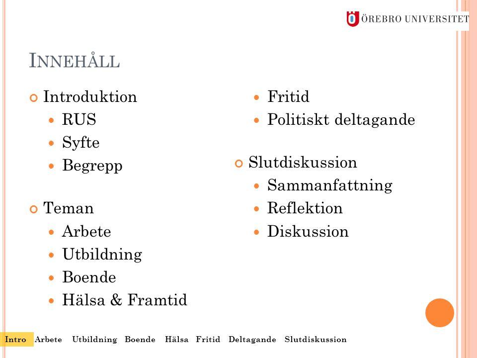 Innehåll Introduktion Fritid RUS Politiskt deltagande Syfte