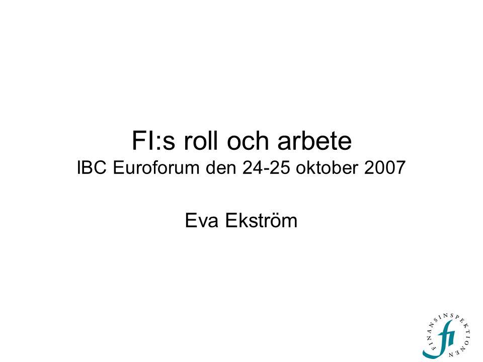 FI:s roll och arbete IBC Euroforum den 24-25 oktober 2007