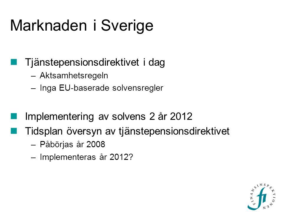 Marknaden i Sverige Tjänstepensionsdirektivet i dag