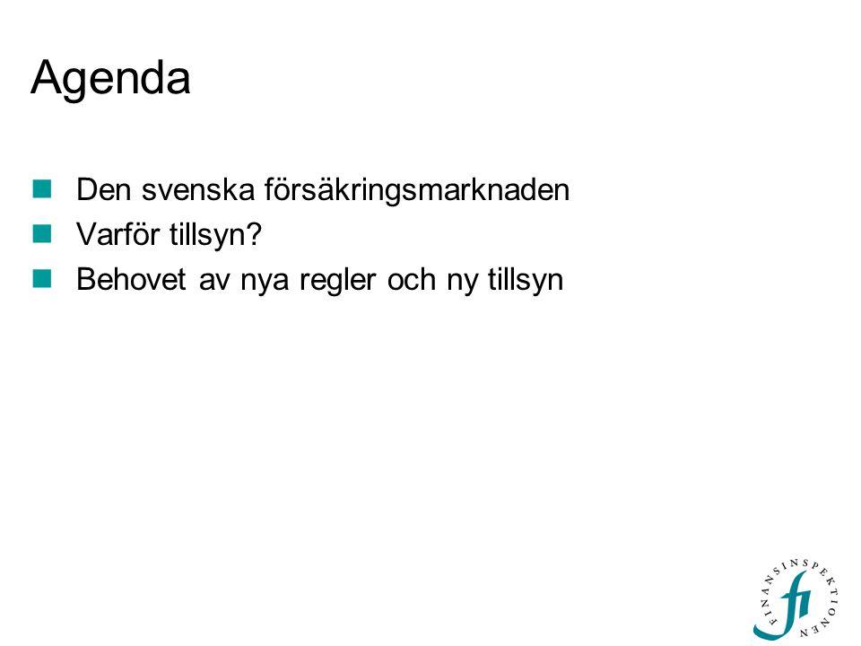 Agenda Den svenska försäkringsmarknaden Varför tillsyn
