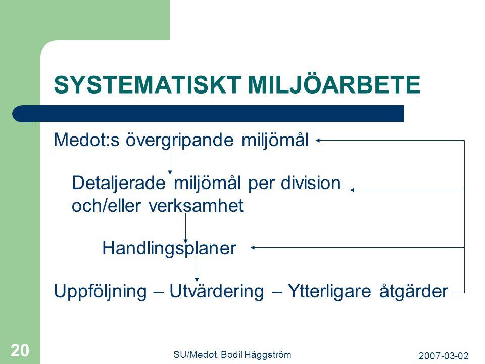 SYSTEMATISKT MILJÖARBETE