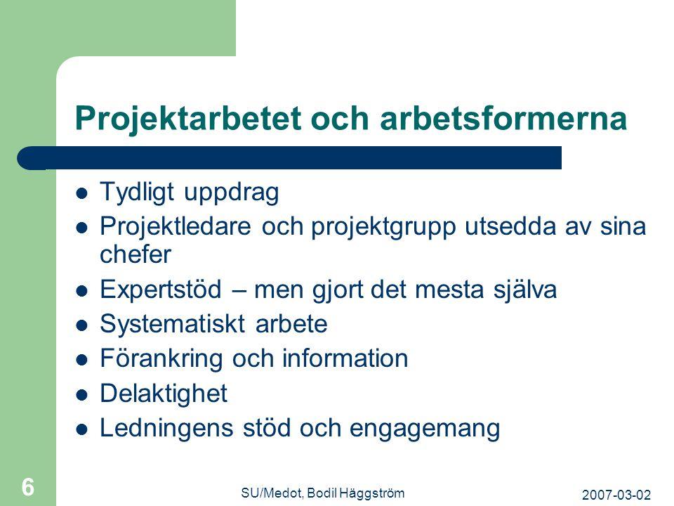 Projektarbetet och arbetsformerna