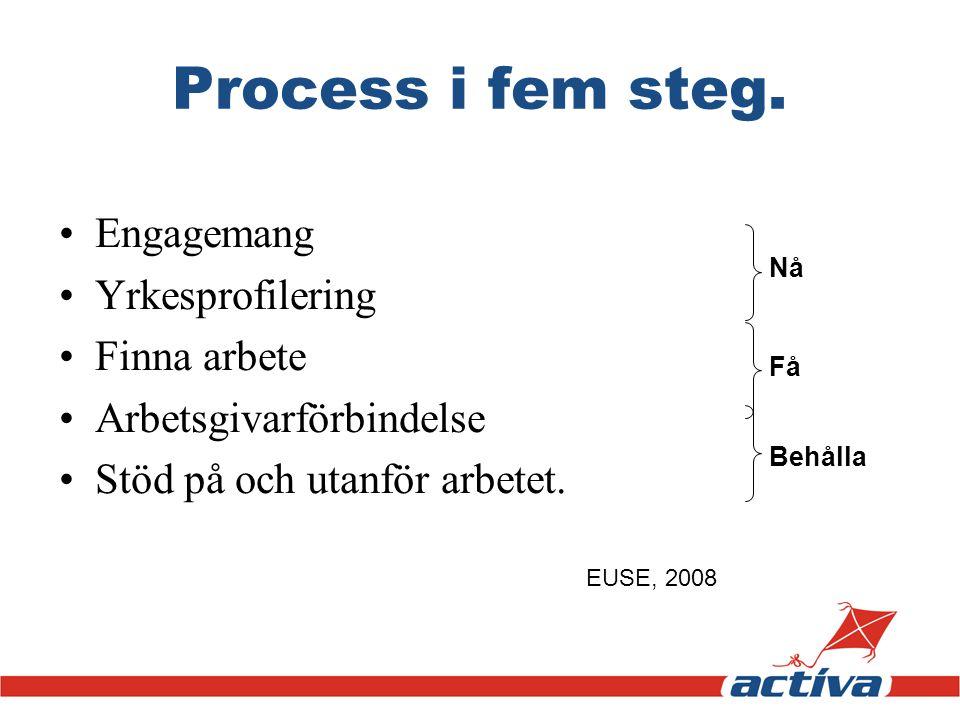Process i fem steg. Engagemang Yrkesprofilering Finna arbete