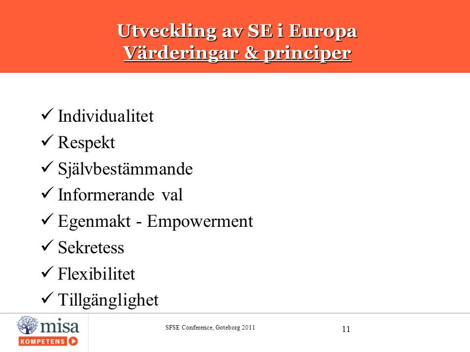 Utveckling av SE i Europa Värderingar & principer