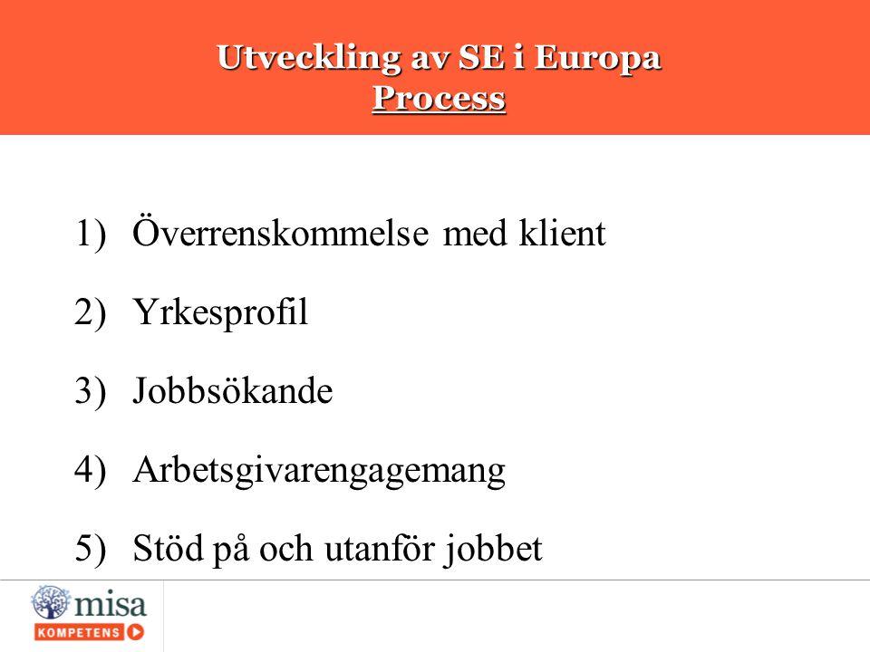 Utveckling av SE i Europa Process