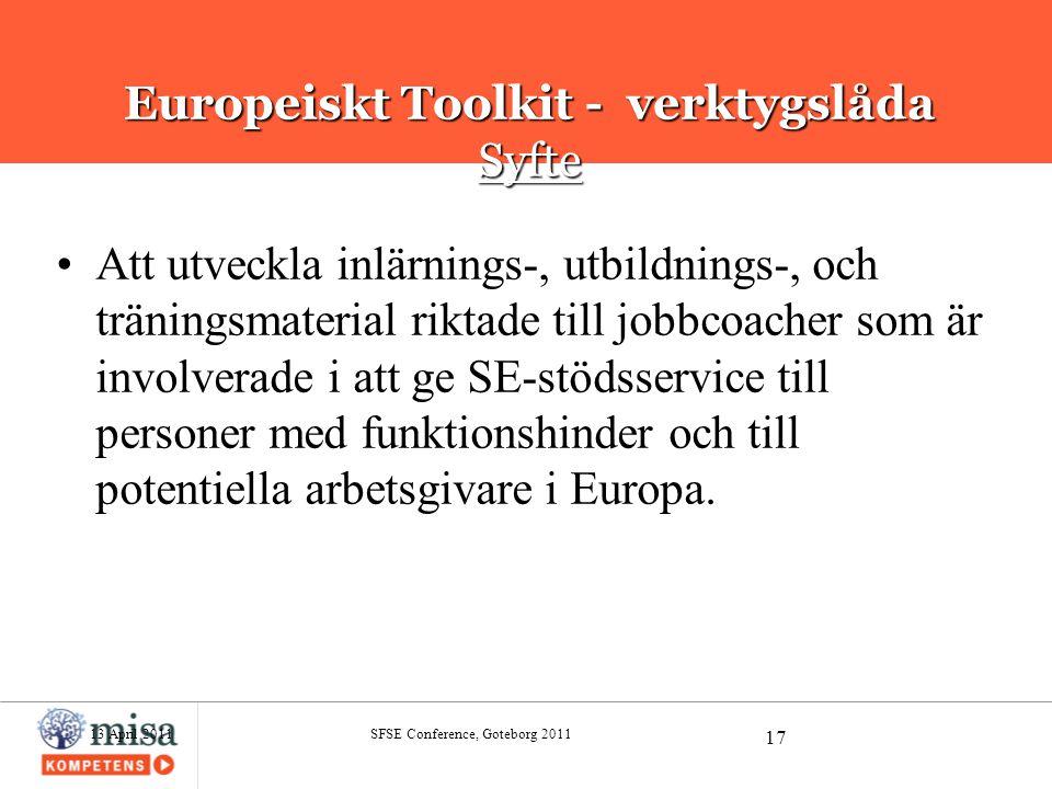 Europeiskt Toolkit - verktygslåda Syfte
