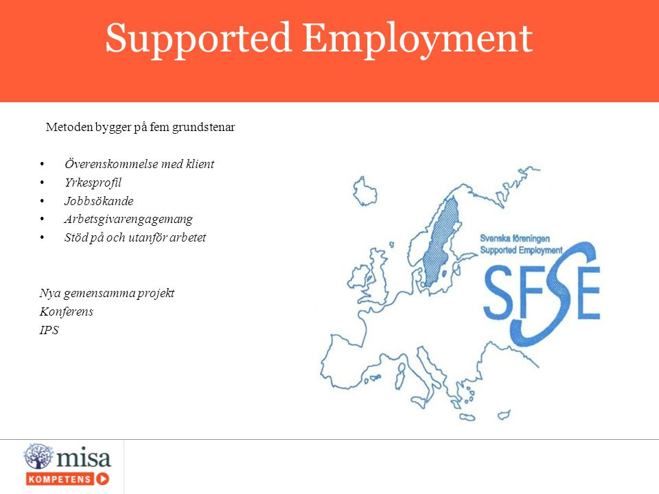 Supported Employment Metoden bygger på fem grundstenar