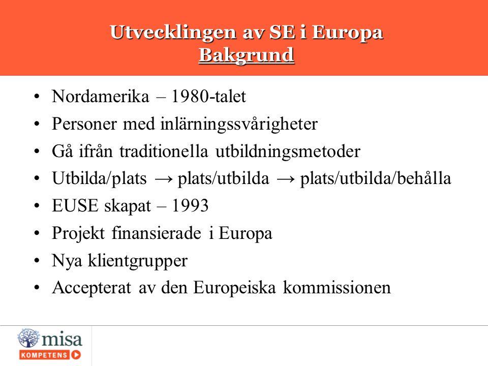 Utvecklingen av SE i Europa Bakgrund