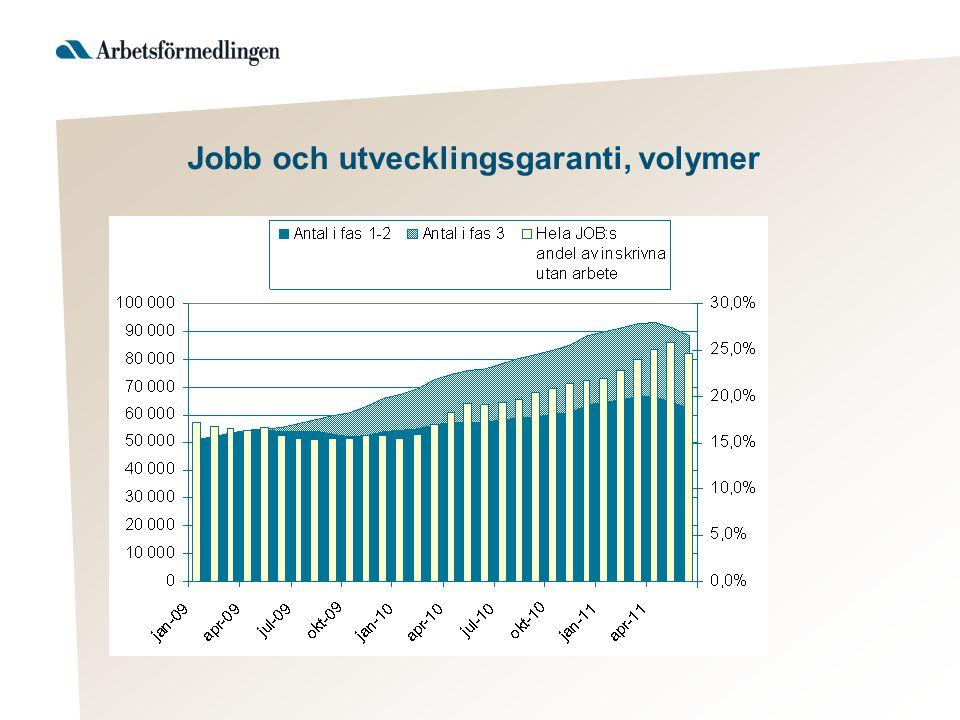 Jobb och utvecklingsgaranti, volymer