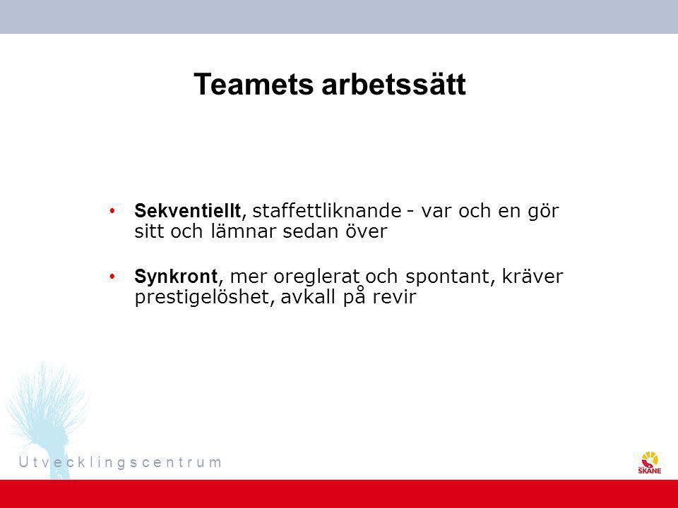 Teamets arbetssätt Sekventiellt, staffettliknande - var och en gör sitt och lämnar sedan över.