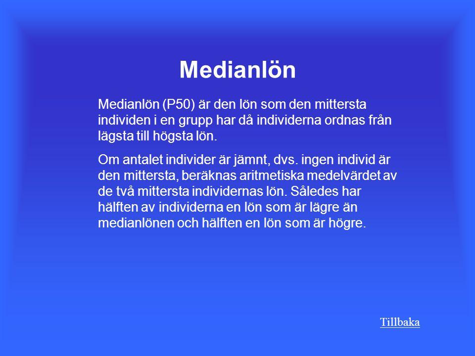 Medianlön Medianlön (P50) är den lön som den mittersta individen i en grupp har då individerna ordnas från lägsta till högsta lön.