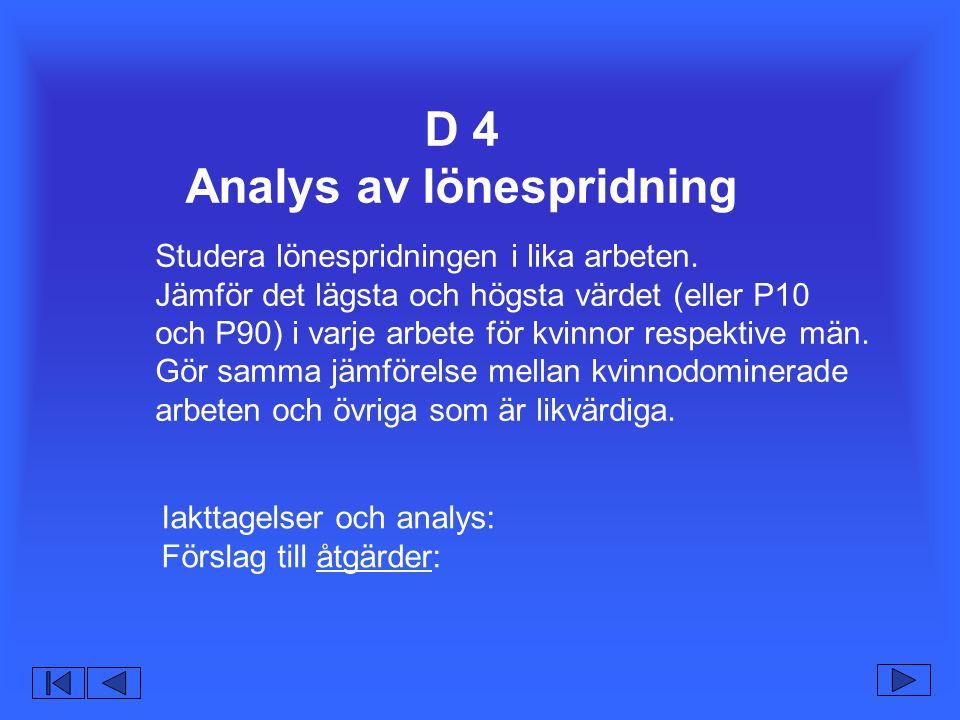 D 4 Analys av lönespridning