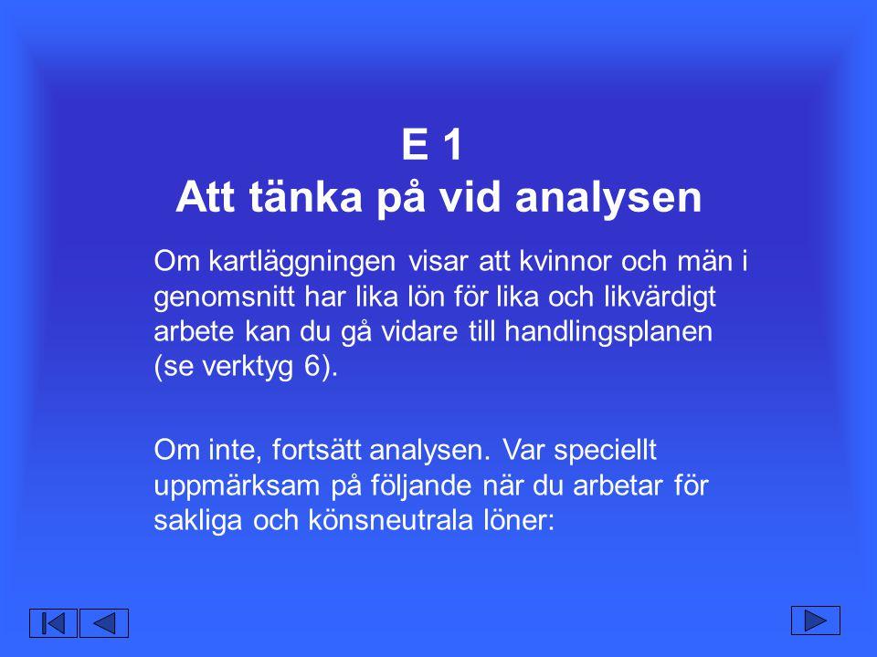 E 1 Att tänka på vid analysen