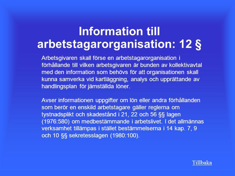 Information till arbetstagarorganisation: 12 §