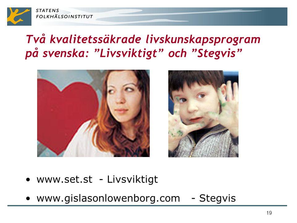 Två kvalitetssäkrade livskunskapsprogram på svenska: Livsviktigt och Stegvis