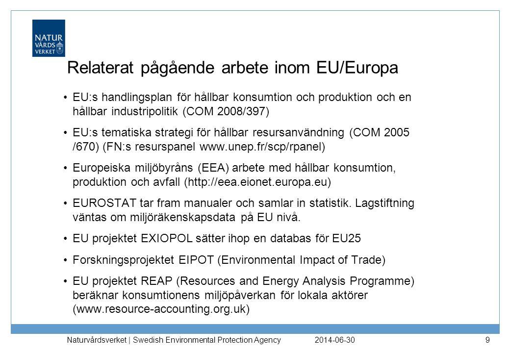 Relaterat pågående arbete inom EU/Europa