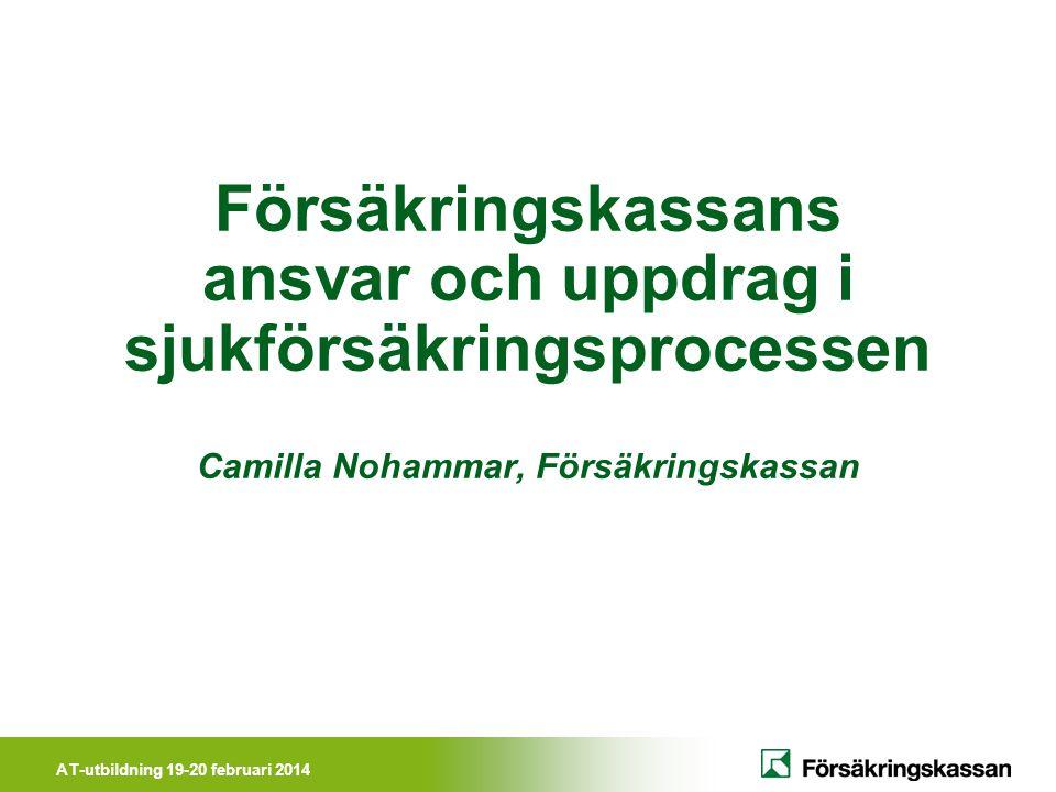 Försäkringskassans ansvar och uppdrag i sjukförsäkringsprocessen Camilla Nohammar, Försäkringskassan