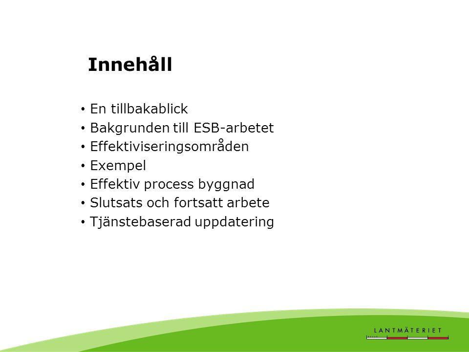 Innehåll En tillbakablick Bakgrunden till ESB-arbetet