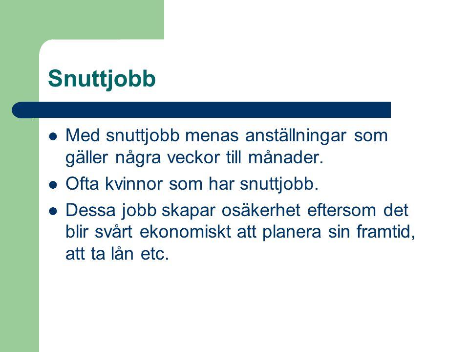 Snuttjobb Med snuttjobb menas anställningar som gäller några veckor till månader. Ofta kvinnor som har snuttjobb.