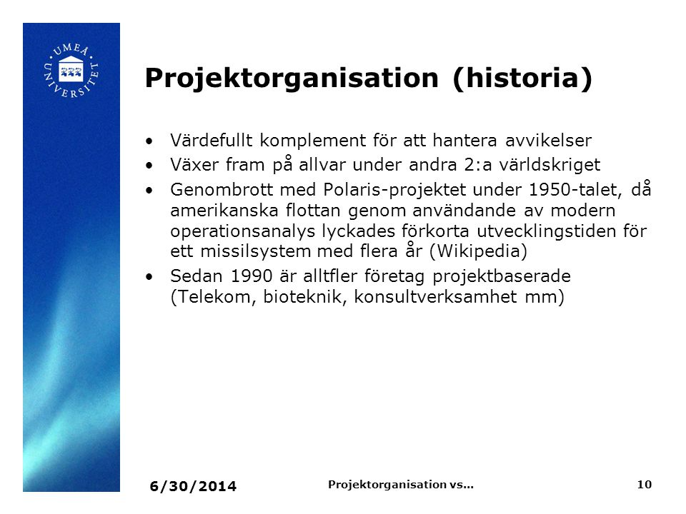 Projektorganisation vs...