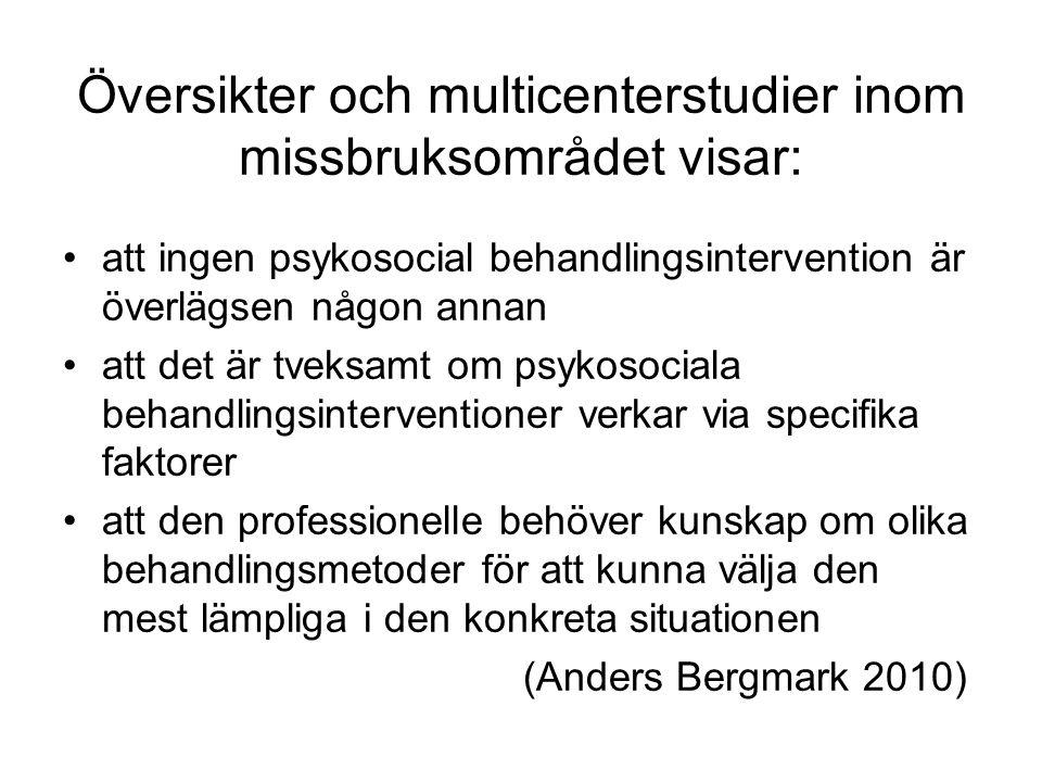 Översikter och multicenterstudier inom missbruksområdet visar: