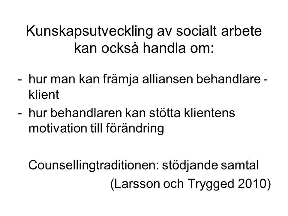 Kunskapsutveckling av socialt arbete kan också handla om: