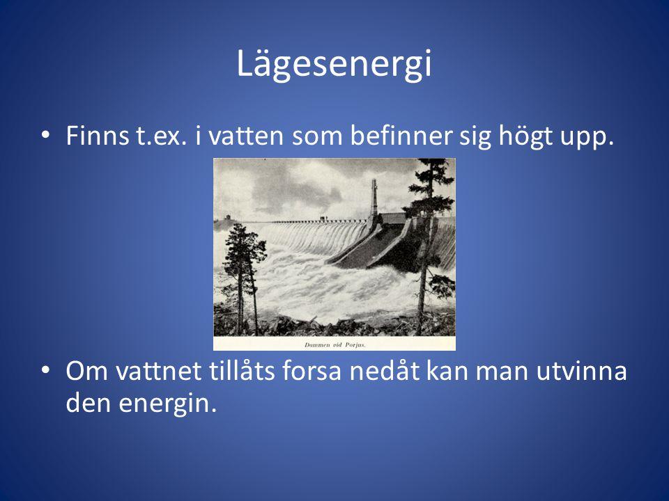 Lägesenergi Finns t.ex. i vatten som befinner sig högt upp.