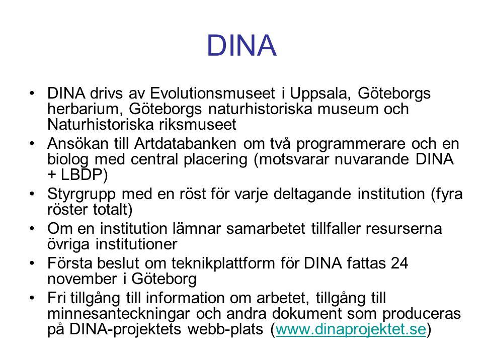 DINA DINA drivs av Evolutionsmuseet i Uppsala, Göteborgs herbarium, Göteborgs naturhistoriska museum och Naturhistoriska riksmuseet.