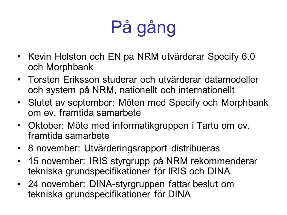 På gång Kevin Holston och EN på NRM utvärderar Specify 6.0 och Morphbank.