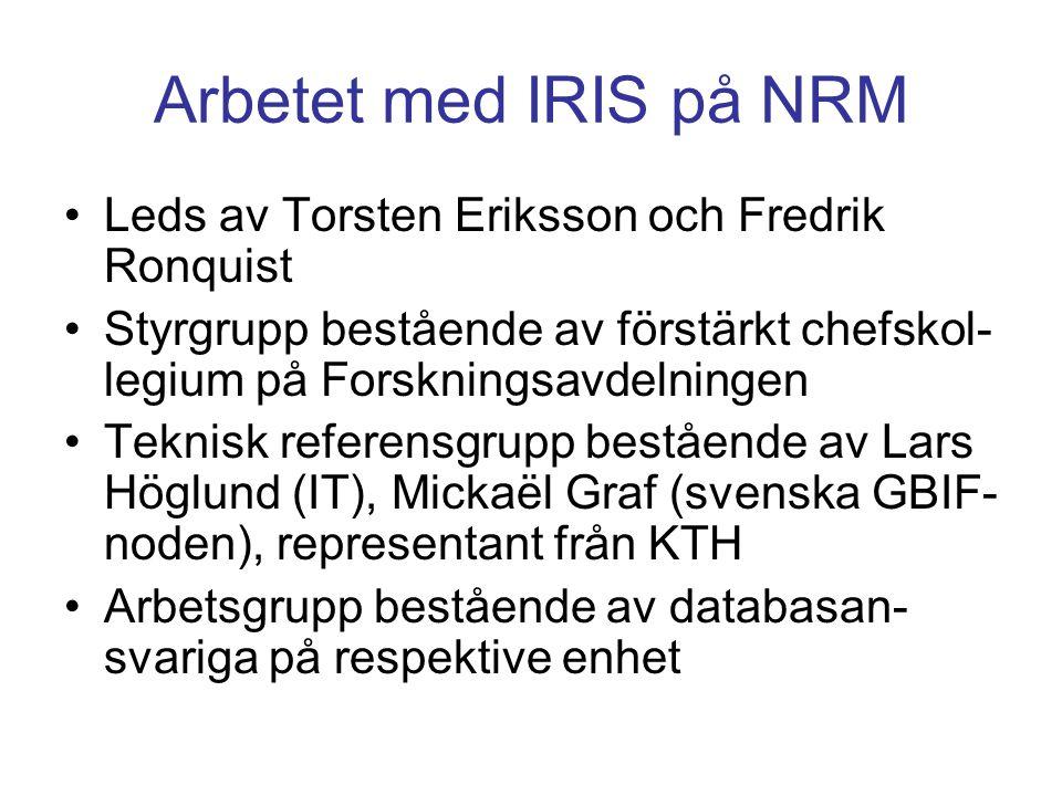 Arbetet med IRIS på NRM Leds av Torsten Eriksson och Fredrik Ronquist