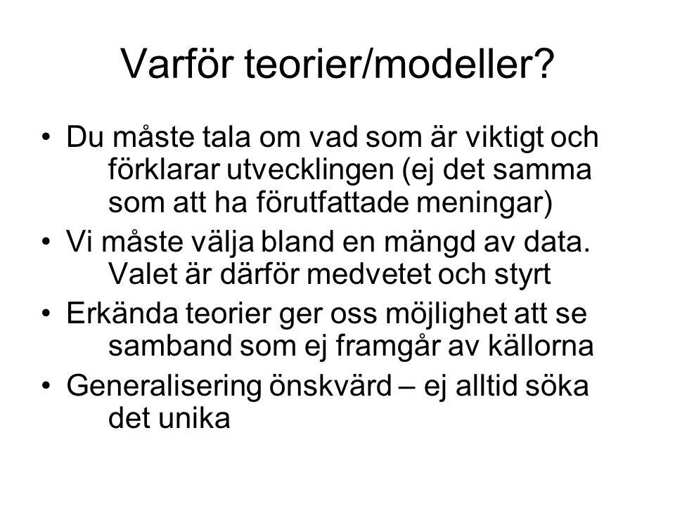 Varför teorier/modeller