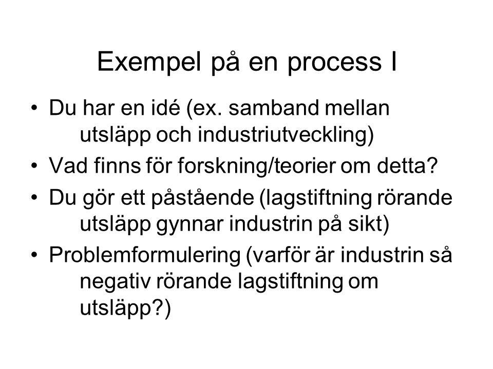 Exempel på en process I Du har en idé (ex. samband mellan utsläpp och industriutveckling) Vad finns för forskning/teorier om detta