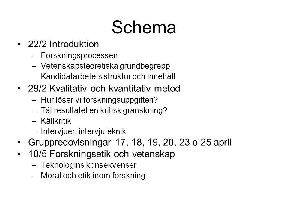 Schema 22/2 Introduktion 29/2 Kvalitativ och kvantitativ metod