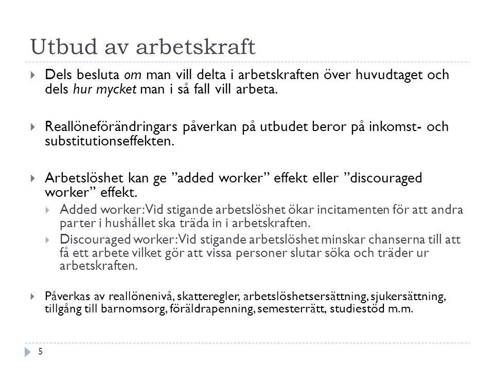 Utbud av arbetskraft Dels besluta om man vill delta i arbetskraften över huvudtaget och dels hur mycket man i så fall vill arbeta.