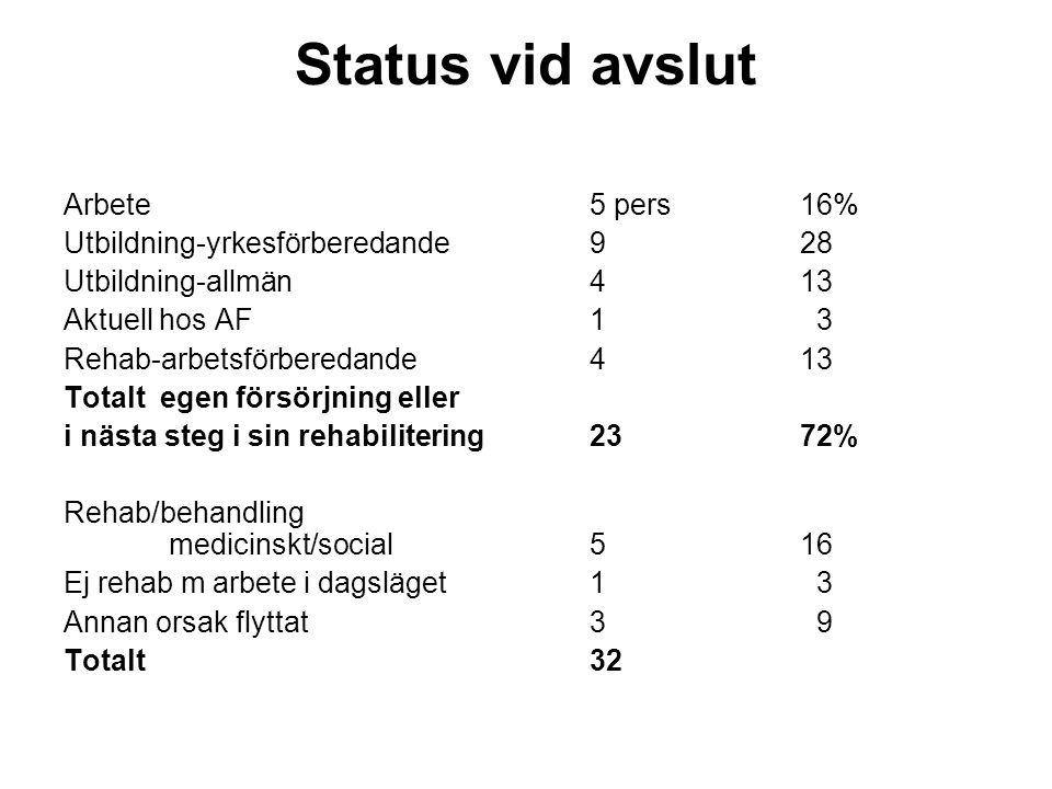 Status vid avslut Arbete 5 pers 16% Utbildning-yrkesförberedande 9 28