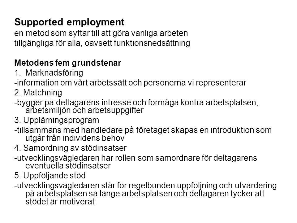 Supported employment en metod som syftar till att göra vanliga arbeten