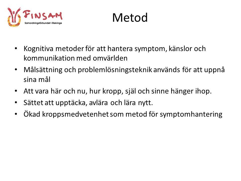 Metod Kognitiva metoder för att hantera symptom, känslor och kommunikation med omvärlden.