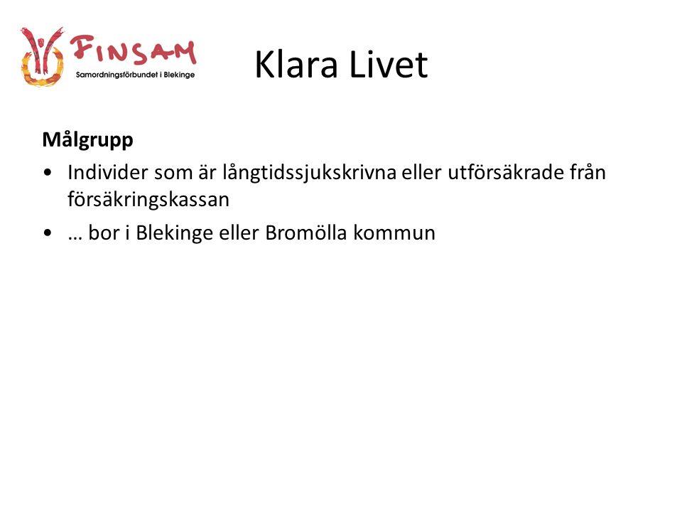 Klara Livet Målgrupp. Individer som är långtidssjukskrivna eller utförsäkrade från försäkringskassan.
