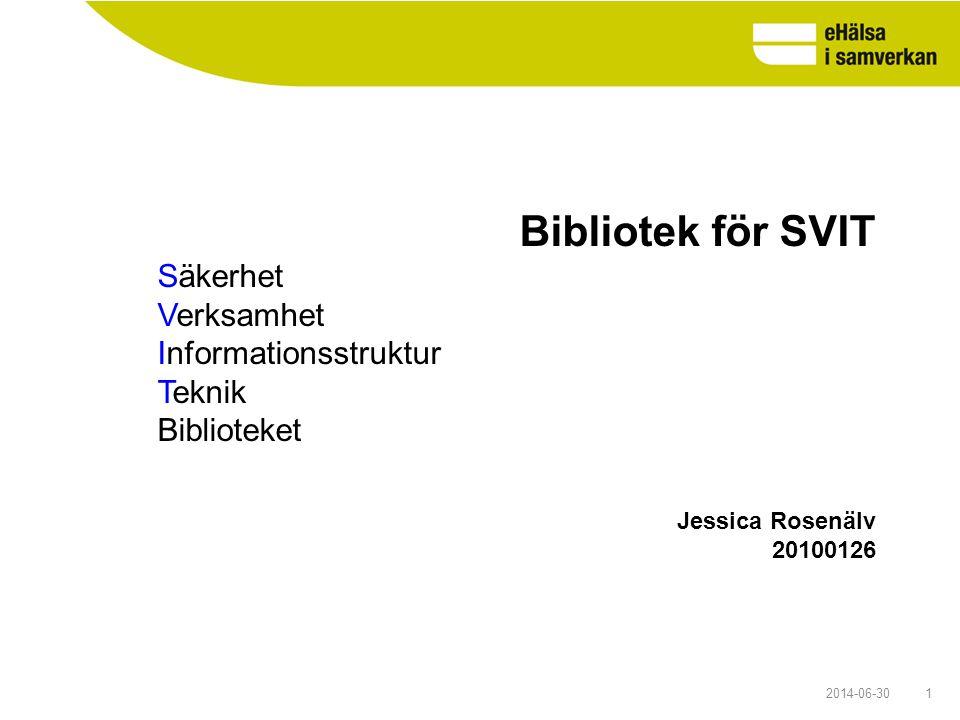 Bibliotek för SVIT Säkerhet Verksamhet Informationsstruktur Teknik Biblioteket. Jessica Rosenälv. 20100126.