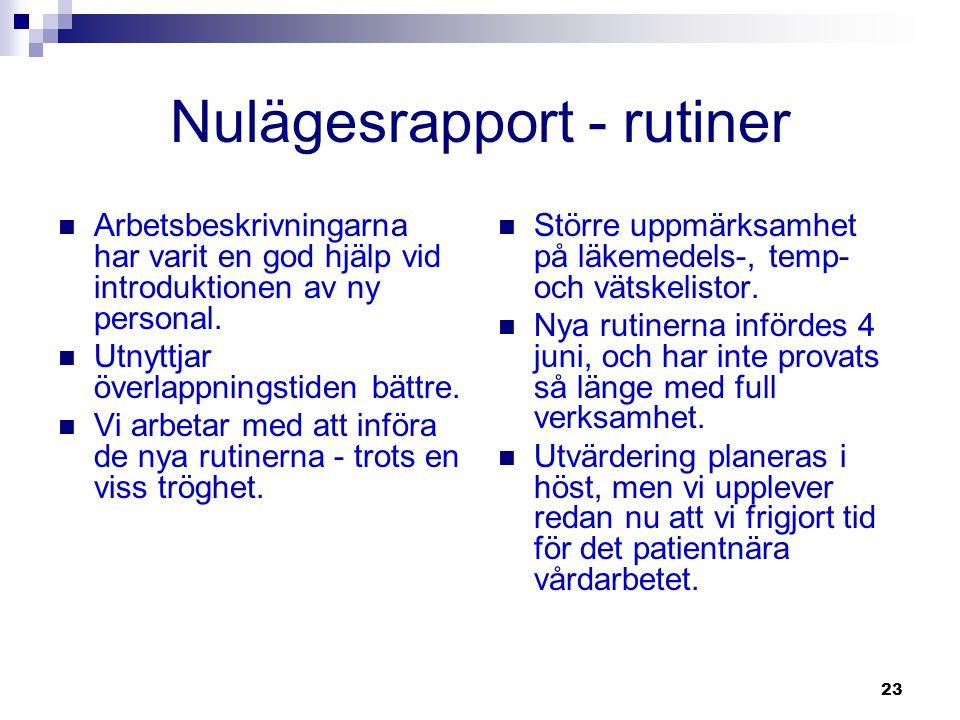 Nulägesrapport - rutiner