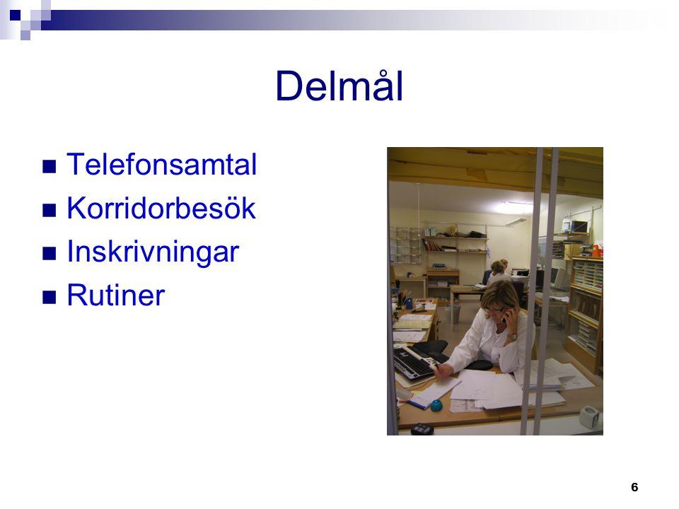 Delmål Telefonsamtal Korridorbesök Inskrivningar Rutiner
