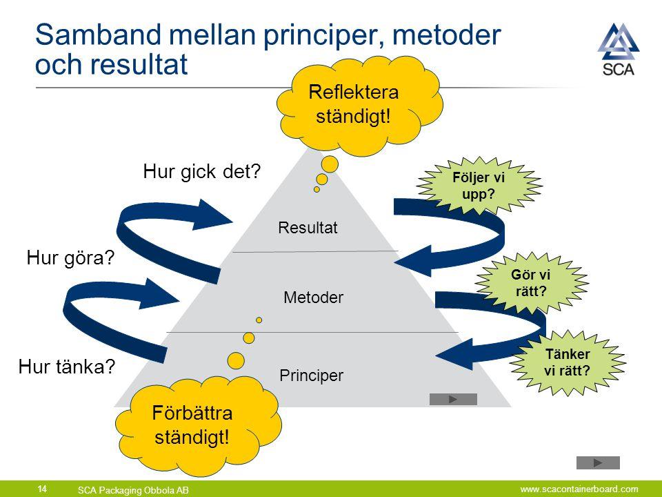 Samband mellan principer, metoder och resultat