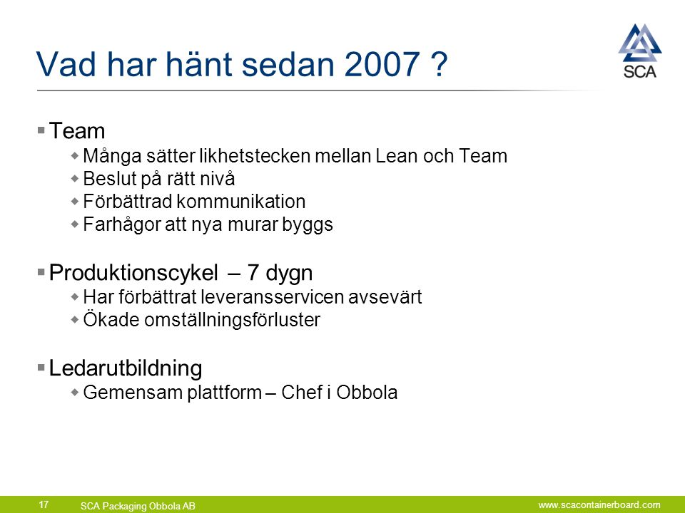 Vad har hänt sedan 2007 Team Produktionscykel – 7 dygn
