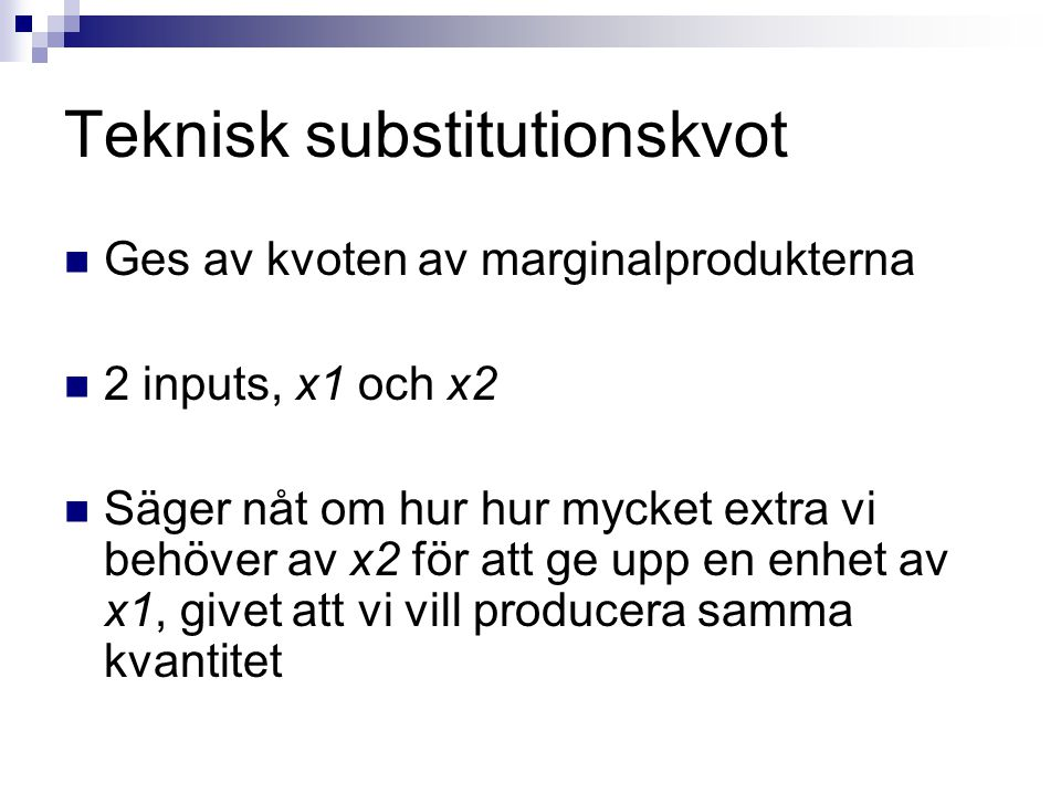 Teknisk substitutionskvot