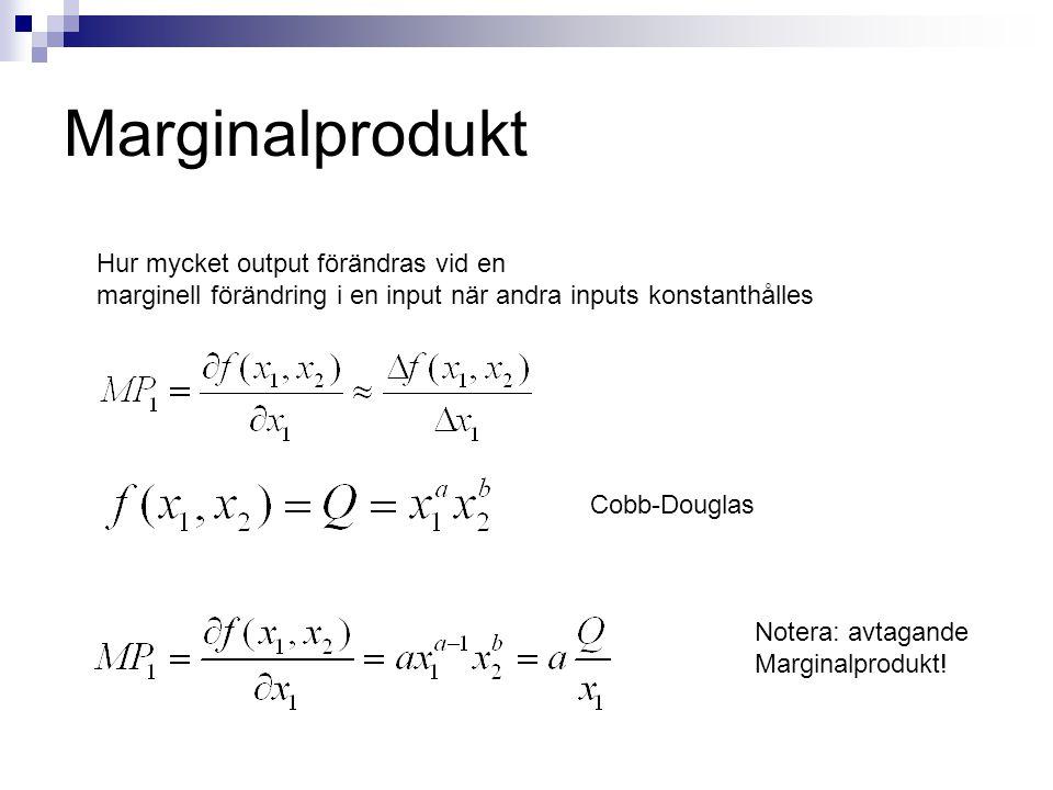 Marginalprodukt Hur mycket output förändras vid en