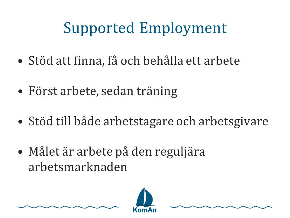 Supported Employment Stöd att finna, få och behålla ett arbete