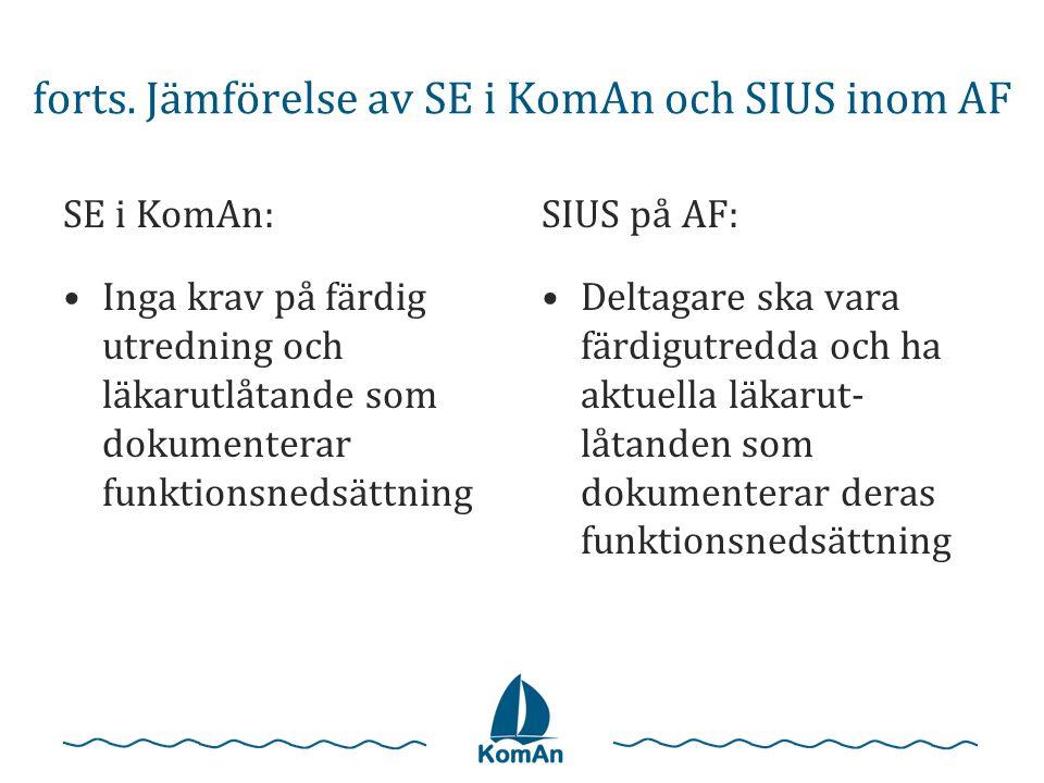 forts. Jämförelse av SE i KomAn och SIUS inom AF